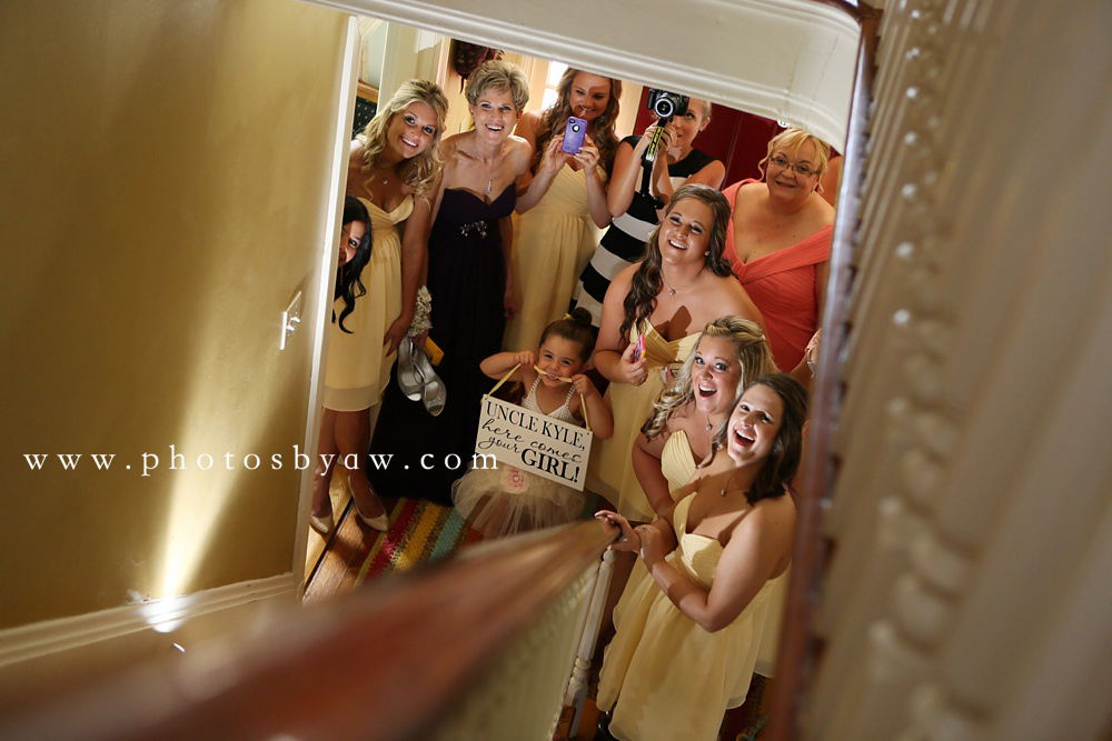 bridesmaids seeing the bride for the first time lingrow farm