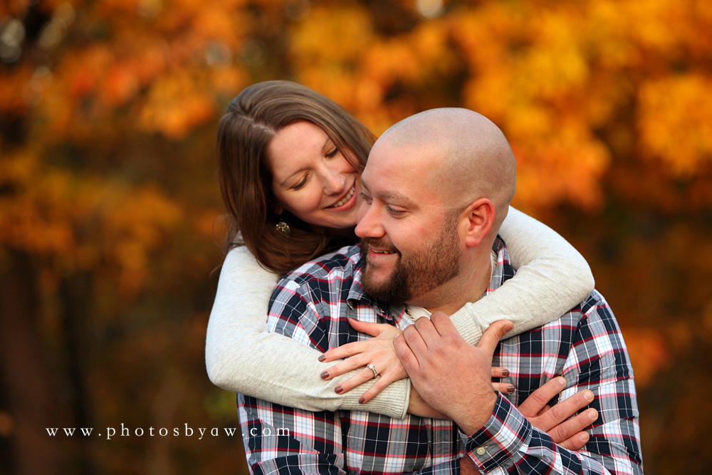 fall leaf photo session engaged couple
