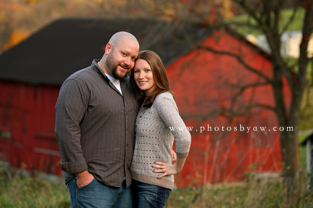 engagement session with red barn