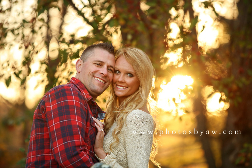 sunset cherry tree engagement photo
