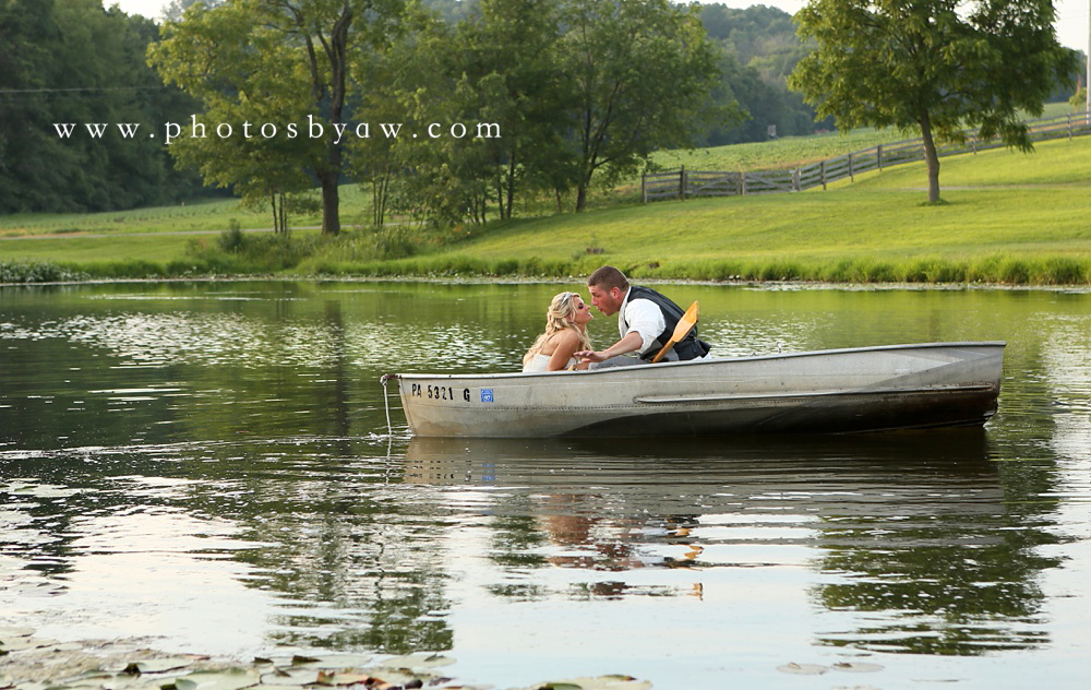 bride and groom rowboat
