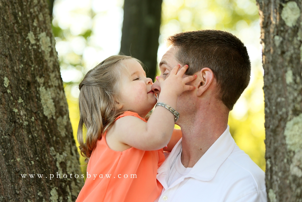 daughter kissing daddy