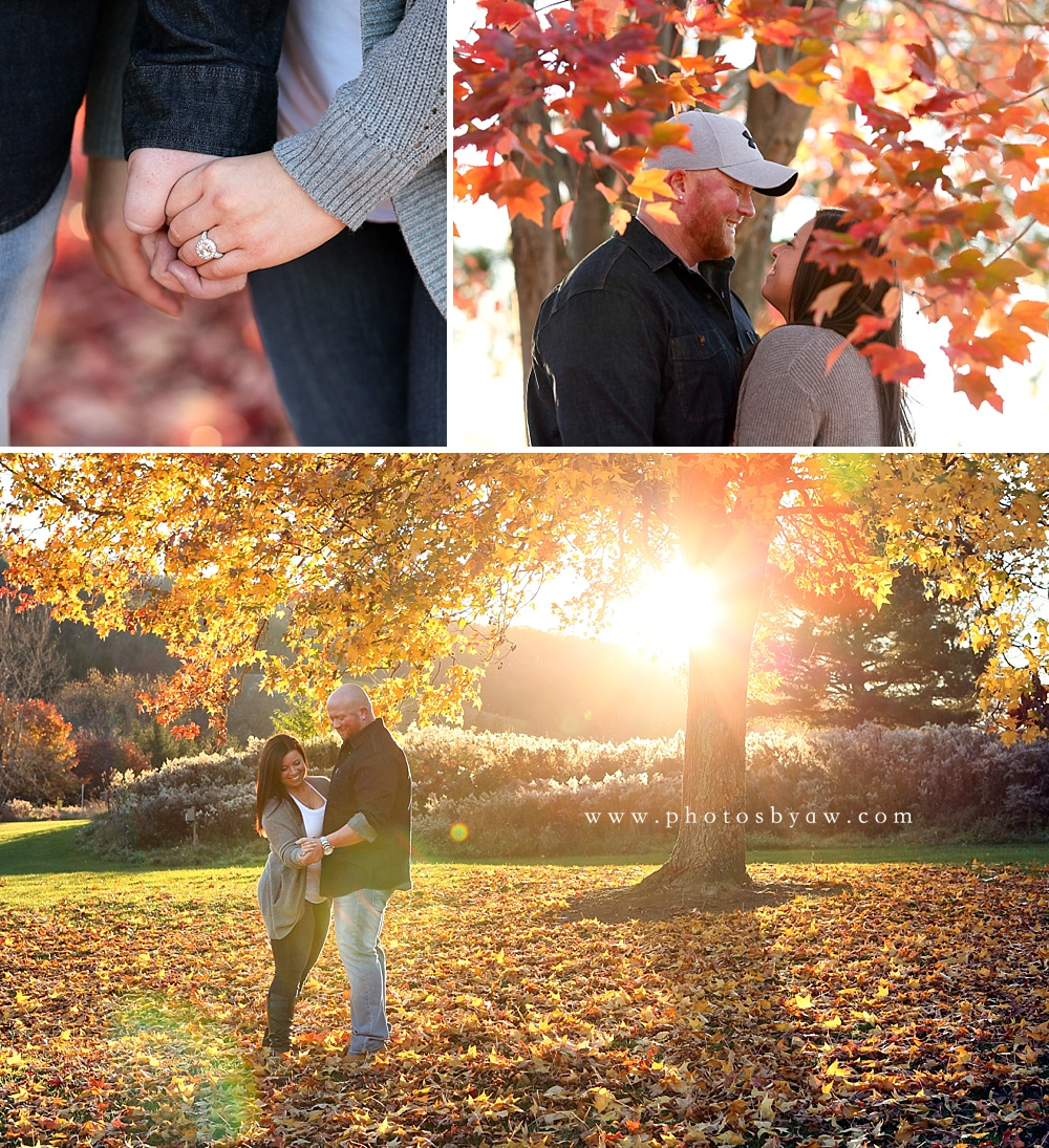 fall sunset engagement photos